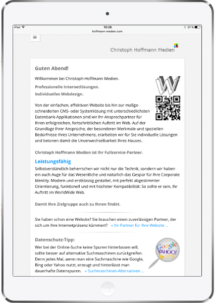 Responsives Webdesign auf iPad Portrait-Format